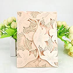 WOMHOPE® 50 Pcs - Lace Petal Wedding Invitation Hollow Laser Cut Lace Shimmer Party Invitations Cards Birthday Invitations Cards Wedding Favors (Nude pink (White inner sheet))