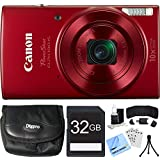 Canon PowerShot ELPH 190 IS Red Digital Camera 32GB Card Bundle includes Camera, 32GB Memory Card, Reader, Wallet, Case, Mini Tripod, Screen Protectors, Cleaning Kit and Beach Camera Cloth