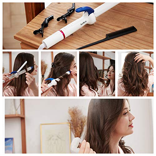 Sethya Curling Iron Ionic-Infrared Ceramic Curling Wand for Loose Curls & Waves Curlers 6 Heat Settings up to 450°F Hair Curler Wand Incl Auto-Off Dual Voltage