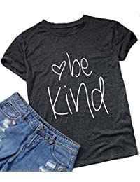 NANYUAYA Womens Be Kind Letter Print Summer Short Sleeve O Neck Tops T-Shirt