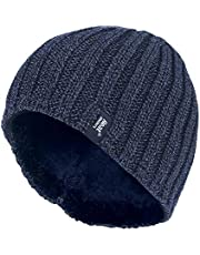 Heat Holders - Mens Thick Fleece Lined Winter Warm Ribbed Thermal Beanie Hat