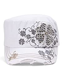 TopHeadwear Four Leaf Clover Distressed Cadet Cap - White