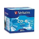 Verbatim 700MB 52x 80 Minute Branded Recordable Disc CD-R, 20-Disc Slim Case 94936