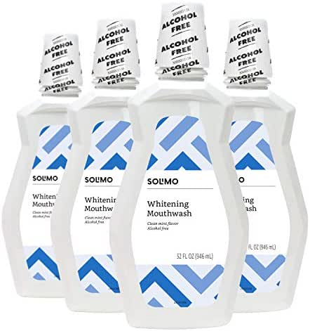 Amazon Brand - Solimo Whitening Mouthwash, Clean Mint, Alcohol Free, 32 Fluid Ounce (Pack of 4)