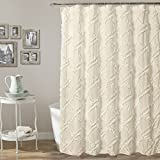 "1 Piece 72""x72"" Ruffle Textured Themed Shower Curtain, All Over High-End Diamond Tufted Work, Classy Textural Design, Graphic Pattern Bathtub Curtain, Abstract Vibrant Solid Color Ivory, For Adults"