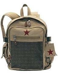 Deluxe Khaki Vintage Mesh Front Star Back Pack 9165