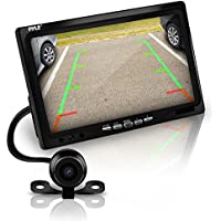Pyle Car Backup Camera Rearview Mirror Screen | Reverse Parking Sensor | 7 LCD Screen Monitor | Distance Scale Line | Waterproof | Night Vision | 170 Wide Angle Lens | Wireless Remote Control | HD