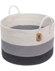 """Goodpick XXXLarge Cotton Rope Basket -Woven Rope Basket Wide 21"""" x 14"""" Blanket Storage Basket with Long Handles Decorative Clothes Hamper Basket Extra Large Baskets for Blankets Pillows or Laundry"""