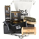 Deluxe Beard Grooming Kit (6-pcs) for Men Care - 100% Pure Organic Unscented Beard Balm, 100% Pure Organic Beard Oil Leave-in Conditioner. Barber Scissors, Shaping Tool, Two-sided Comb and Beard Brush
