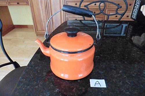 Vintage Orange Enamel teapot tea kettle stove top retro enamelware wood handle A