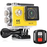 KuGi Ultra HD 4K Sport Action Camera WIFI 1080P 60fps HDMI 20MP+170 Degree Wide Viewing Angle 2.0 inch LCD Screen Waterproof Sport DV Camcorder with Accessories Kit for Extreme Outdoor Sports(Yellow)