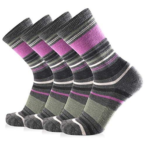 Journow Women's Extra Warm Merino Wool Micro Crew Cushion Socks 4 Pair (9-11, black purple stripe)