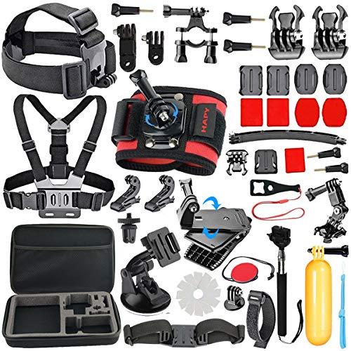 HAPY Accessory Kit for GoPro Hero6,5 Black,gopro fusion,Hero Session,HERO (2018), Hero 6,5,4, 3+,3,Campark ACT74,XIAOMI,AKASO/ APEMAN/ DBPOWER,Sports Camera Accessories