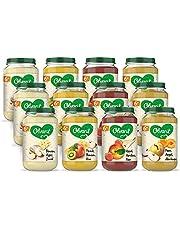 Olvarit Variatiemenu Fruit - fruithapje voor baby's vanaf 6+ maanden - 4 verschillende smaken babyvoeding - 12 fruitpotjes van 200 gram