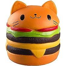 "Kutzi Mutzi's 4.5"" Jumbo Squishy Kawaii CatBurger Cream Scented Squishies Slow Rising Decompression Squeeze Toys Children Simulation Cute CatBurger Toys (Cat Hamburger) 1pcs"