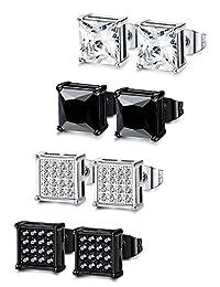 Thunaraz 4 Pairs Stainless Steel Earrings for Men Women Ear Piercing CZ Inalid,6-8MM