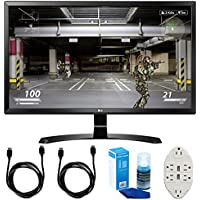 LG (27UD58-B) 27 4K UHD IPS Freesync Gaming Splitscreen LED Monitor w/ Accessories Bundle Includes, 2x 6 HDMI Cable, Universal Screen Cleaner & Transformer Tap USB w/ 6-Outlet Wall Adapter & 2-Ports