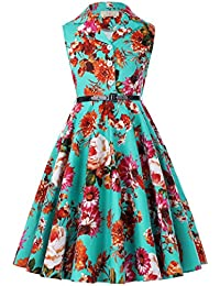 Girls Retro Sleeveless Floral Print Swing Dresses with Belt