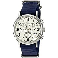 Timex Unisex TWC063800 Weekender Chrono Cream/Blue Double-Layered Nylon Slip-Thru Strap Watch