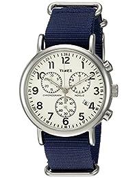 Timex Weekender Chrono Oversize slip-thru Correa unisex reloj, Blue/Cream