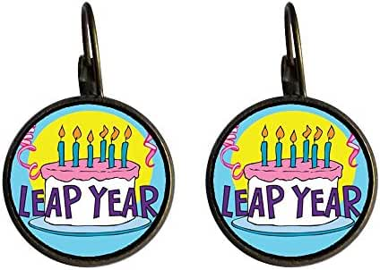 GiftJewelryShop Bronze Retro Style Leap Year Birthday Cake Photo Dangle Leverback Earrings 16mm diameter