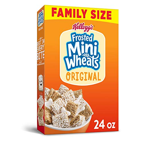 Kellogg's Frosted Mini-Wheats, Breakfast Cereal, Original, Good Source of seven Vitamins and Minerals, Family Size, 24oz Box