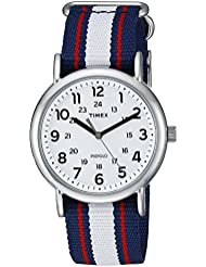 Timex Unisex TW2P68500 Weekender Blue/Red/White Stripe Nylon Slip-Thru Strap Watch