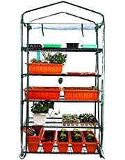 Homes Garden Upgrade Wider 5 Tier Greenhouse, Serre à Jardin, 39 in. W x 19 in. D x 76 in. H Portable Indoor Outdoor Mini Greenhouse Clear PVC Cover Zipper Roll Up #G311A00
