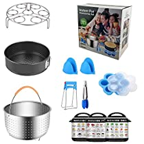 SUNTQ Instant Pot Accessories Set with Stainless Steel Steamer Basket, Egg Steamer Rack, Non-stick Springform Pan, 1 Silicon Egg Bites Mold, 3 Magnetic Sheets, 1 Steaming Stand, 1 Silicon Clamp, 1 Bowl Clip, 1 Pair Silicone Cooking Pot Mitts Fits 5,6,8 Quart Qt Instant pot Pressure Cooker (11PCS)
