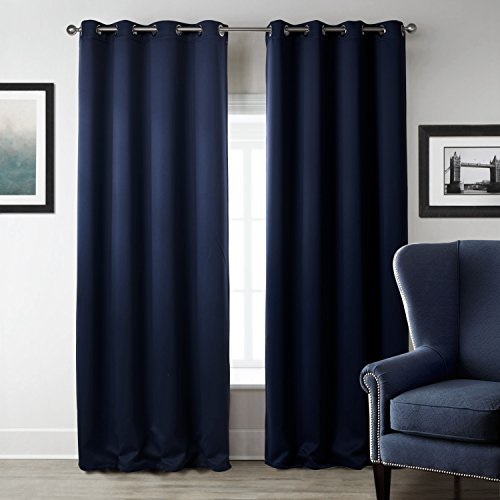 T2C HOME 52W X 63L Polyester Navy Blue Grommet Top Insulated Blackout