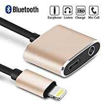 iPhone 7 Lightning to 3.5mm Headphone Jack Adapter, BELK iPhone 7 Plus Lightning Adapter Splitter Support Mic Call/Listen/Charge/Music Control for [iOS 10.3] [Bluetooth Connection Needed]
