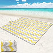 ROSMARUS Large Beach Picnic Blanket, Foldable Camping Outdoor Blanket, Waterproof Backing Picnic Mats for Camp