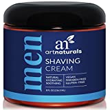 ArtNaturals Men's Natural Shaving Cream - 8 oz / 236 ml - Natural, Hydrating & Soothing - Great for Sensitive Skin - Formula is Antimicrobial, Anti-inflammatory, Antifungal and Exfoliating.