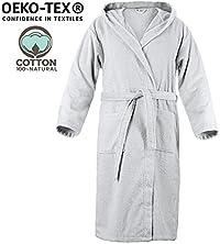 Twinzen Accappatoio di Cotone 100% con Cappuccio per Uomo Certificato OEKO TEX - Vestaglia 2 tasche, Cintura e Occhiello per appenderlo - Morbido, Assorbente e Confortevol