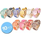 CdyBox Wholesale Lot of 10 Pcs Unisex Men Women Lady Teen Girl Gold Plated Platinum Style PU Leather Round Wrist Watches