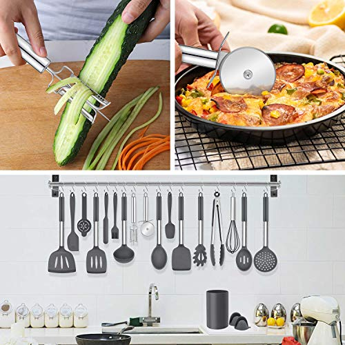 LIANYU 43 Pcs Kitchen Cooking Utensils Set, Silicone Cooking Utensils Spatula Set with Holder, Heat Resistant Kitchen Gadgets Tools for Nonstick Cookware Set, Stainless Steel Handle, Grey