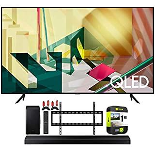 SAMSUNG QN55Q70TA 55-inch 4K QLED Smart TV 2020 Theater Surround Sound Bundle HW-Q60T 5.1ch Soundbar + Wall Mount + 2 x Deco Gear HDMI Cables