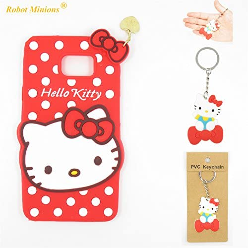 S7 Case,Galaxy S7 Case,Galaxy S7 Soft Silicon Gel Rubber Case,Robot Minions Classic 3D Cute Cartoon Figure [Red hello kitty] Soft Silicon Gel Rubber Sales