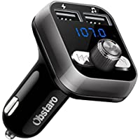 FM Transmitter, OBSTARO Bluetooth Fm Transmitter for car, Wireless in-car Bluetooth Receiver MP3 Player Stereo Radio Adapter car kit with Dual USB Ports ,Hands Free for Iphone, Ipad,Smartphones