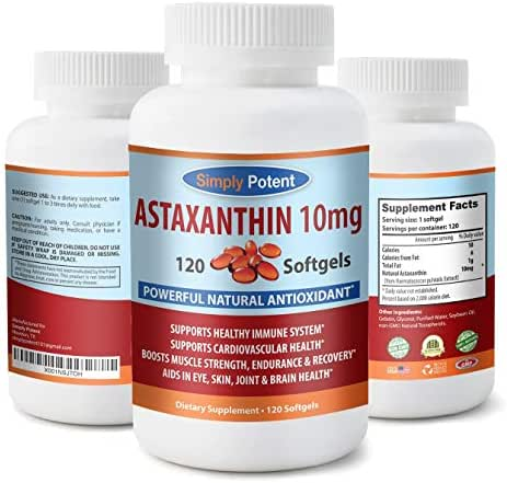 High Potency Astaxanthin 10mg 120 Softgel, One Per Day Formula, All-Natural, Non-GMO, Gluten-Free Supplement, Powerful Natural Antioxidant Supports Eye, Skin, Joint, Heart, Brain, Immune System Health