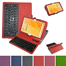 "Acer Iconia One 10 B3-A20 Bluetooth Keyboard Case,Mama Mouth Coustom Design Slim Stand PU Leather Case Cover With Romovable Bluetooth Keyboard For 10.1"" Acer Iconia One 10 B3-A20 Android Tablet,Red"