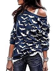 Achinel Dames Off the Shoulder Top Vleermuis Pompoen Print Lange Mouwen Shirts Casual Sweatshirt Pullover Blouse, Marine vleermuis, L