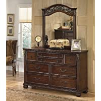 Leahlyn Collection Old World Style Warm Brown Finish Bedroom Storage Dresser