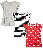 Amazon Brand - Spotted Zebra Girls' Toddler & Kids 3-Pack Short-Sleeve Ruf