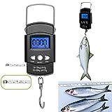 Báscula de pesaje portátil de acero inoxidable para pesca, 50 kg, peso electrónico, gancho digital para colgar pesas con cinta métrica regla
