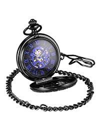 AMPM24 Men's Steampunk Black Gear Wheel Hollow Case Half Hunter Mechanical Hand-wind Blue Skeleton Dial Pendant Pocket Watch + Gift Box WPK219