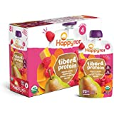 Happy Tot Organic Fiber & Protein Pouch Stage 4 Pears Raspberries Butternut Squash & Carrots, 4 Ounce Pouch (Pack of 16) (Packaging May Vary) Mess Free Self Feeding Organic w/ Added Protein & Fiber