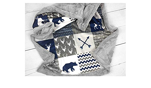 arrows and trees Custom Made to Order Baby Blanket in navy yellow and gray with a Where the Wild Thinngs Are theme including crowns