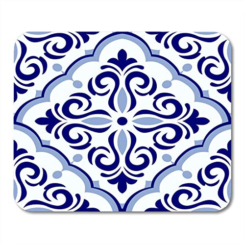 Urmirs Mouse Pads Vintage in Portugal Azulejo Patchwork Blue and White Colors Endless Pattern Ceramic Linoleum Mouse pad 9.5