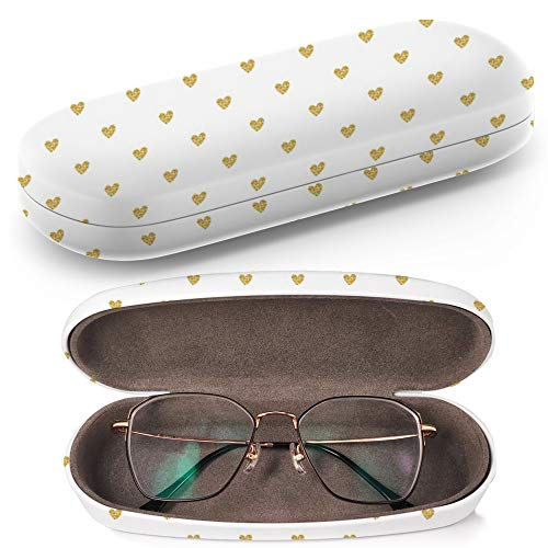 Hard Shell Glasses Protective Case with Cleaning Cloth for Eyeglasses and Sunglasses - Gold Heart Glitter